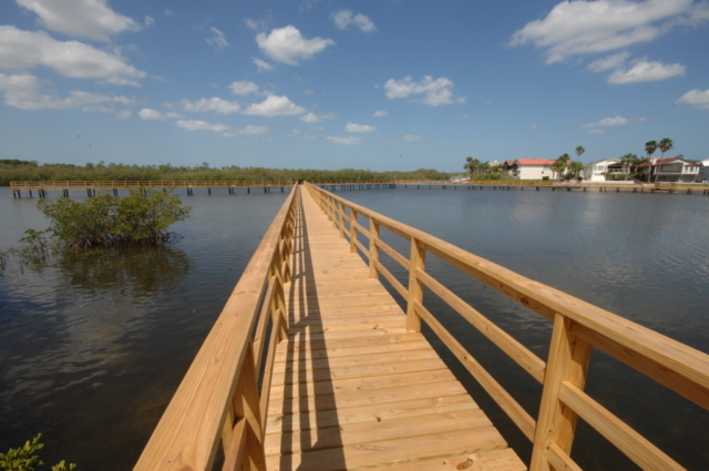 Commercial timber wooden boardwalk with commercial wood handrail