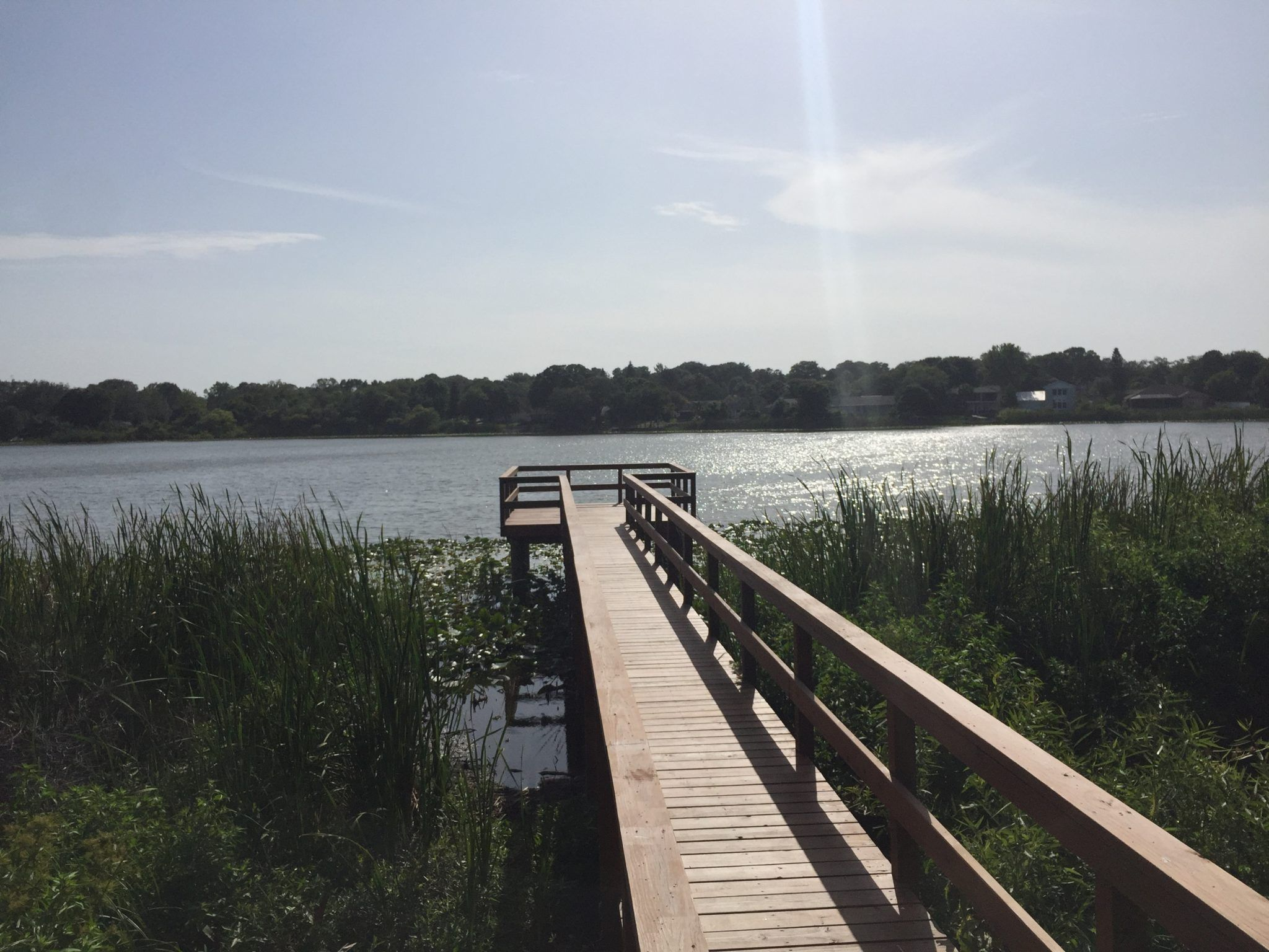 A commercial timber boardwalk that runs to a dock head over the lake