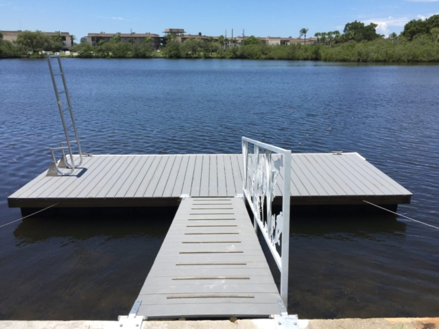 Platform floating dock and ramp with Trex composite decking and aluminum ladder