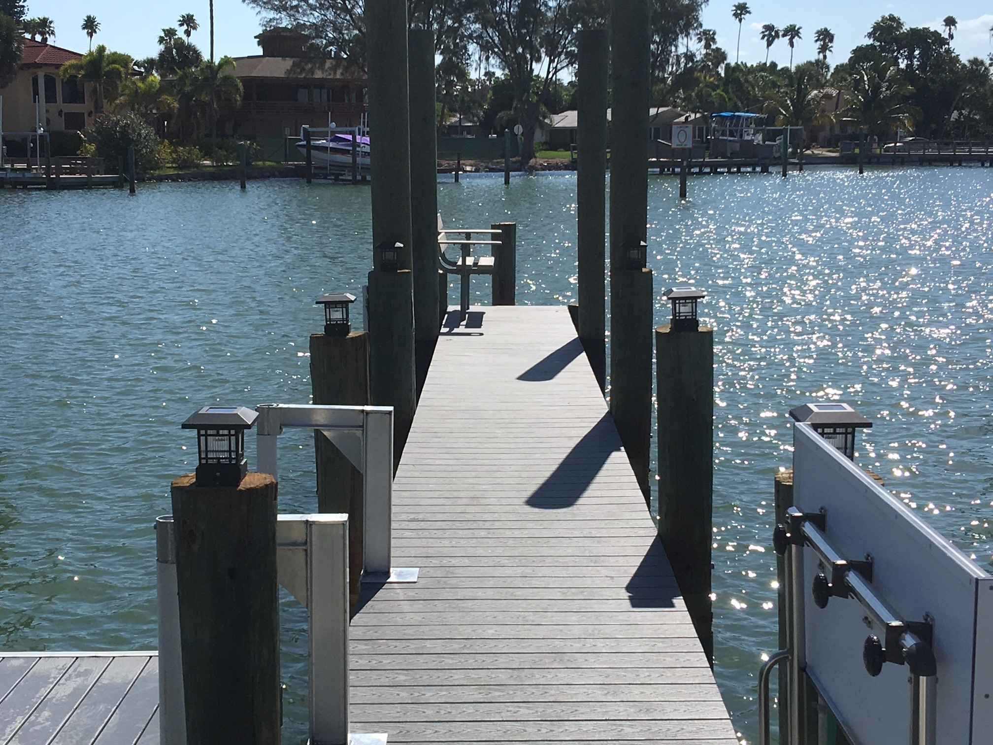 Stationary dock walkout with Trex composite decking over the water